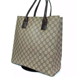 Authentic GUCCI Pattern Canvas Leather Tote Bag
